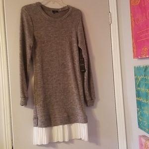 Grey Sweater Dress with White Detail on Hem